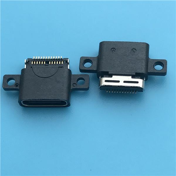 防水TYPE C 母座 F双排板上SMT24PIN带螺丝孔